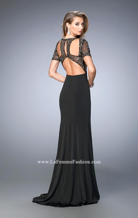 Picture of: Beaded Jersey Prom Dress with Sheer Bodice and Train, Style: 22647, Main Picture