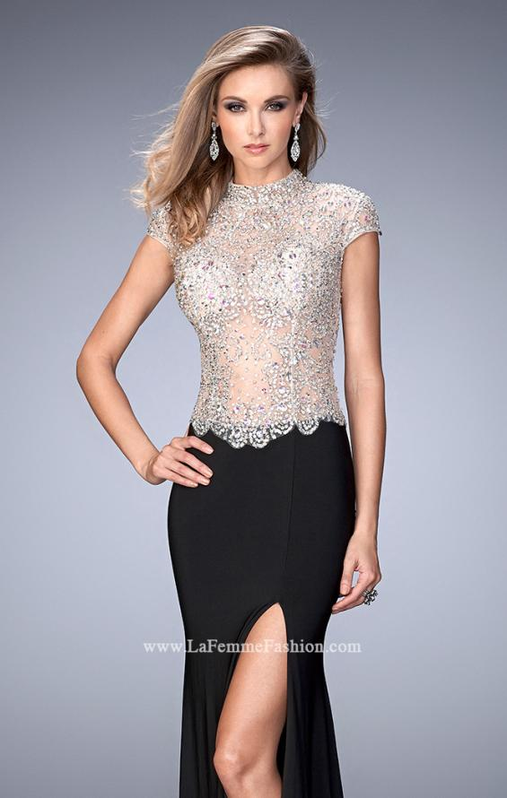 Picture of: Long Jersey Dress with Beading and Side Leg Slit in Black, Style: 22648, Main Picture