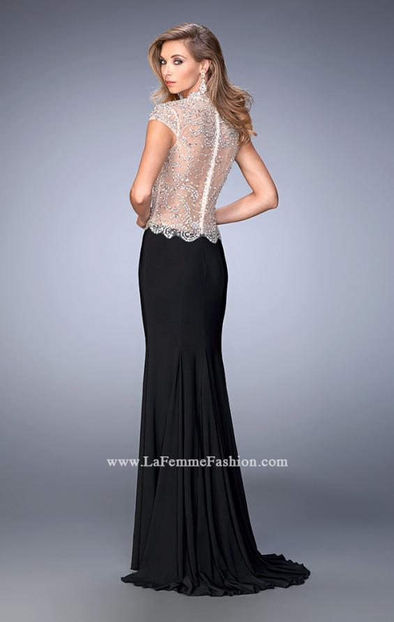Picture of: Long Jersey Dress with Beading and Side Leg Slit in Black, Style: 22648, Back Picture