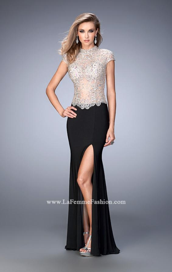 Picture of: Long Jersey Dress with Beading and Side Leg Slit in Black, Style: 22648, Detail Picture 1