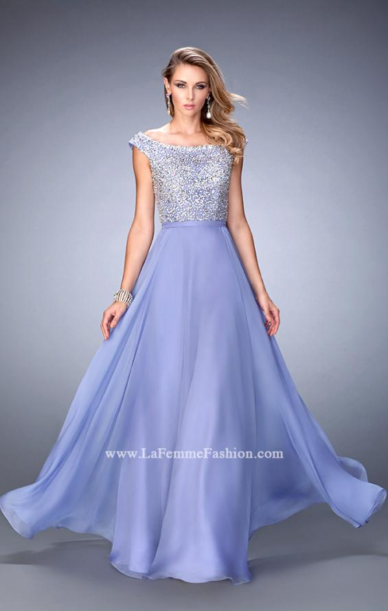 Picture of: Embellished Long Chiffon Gown with Boat Neckline in Purple, Style: 22649, Main Picture