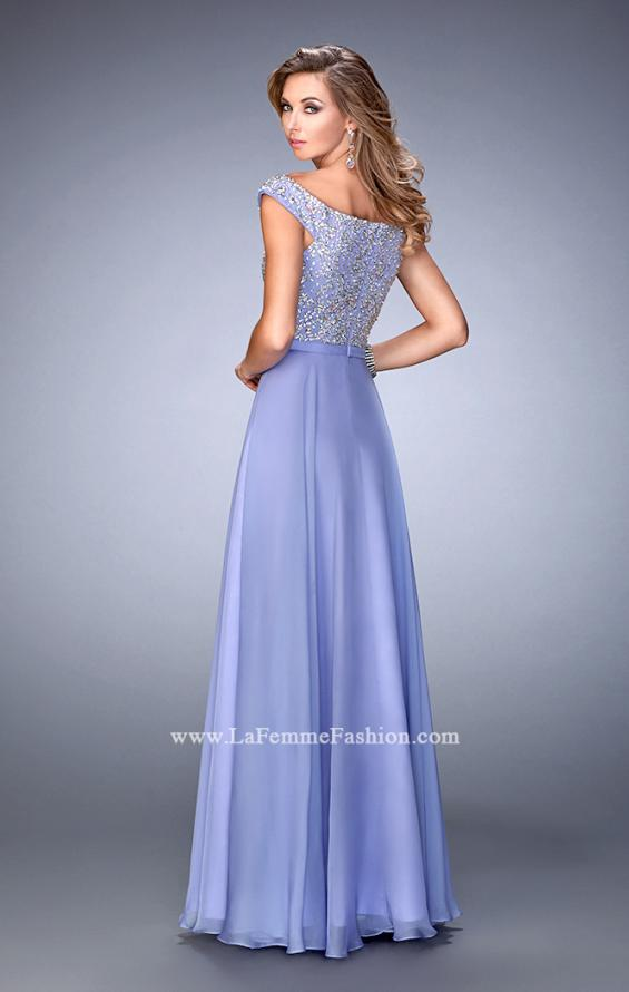 Picture of: Embellished Long Chiffon Gown with Boat Neckline in Purple, Style: 22649, Back Picture
