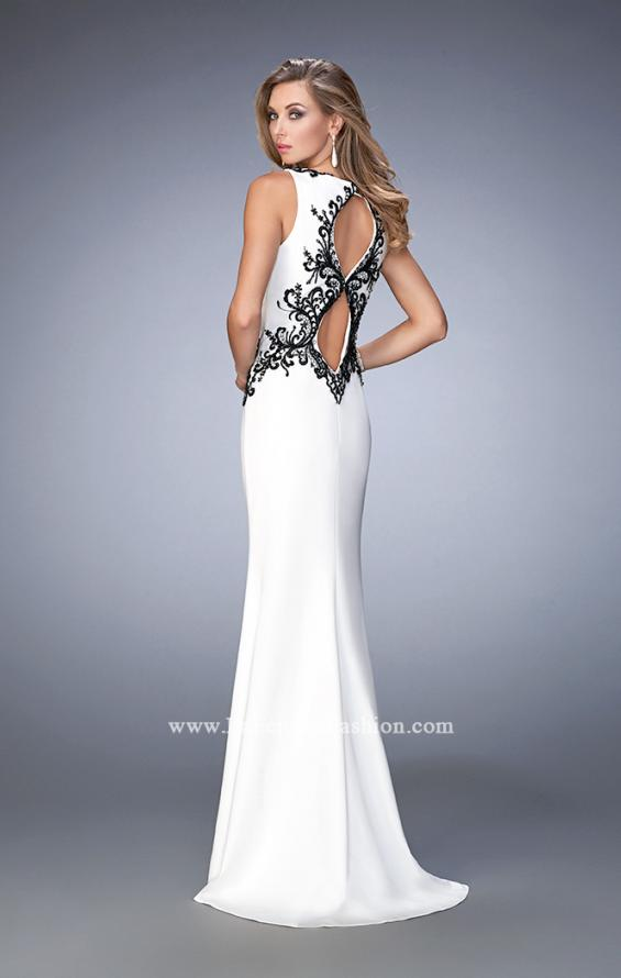 Picture of: Jersey Prom Dress with Train and Keyhole Back, Style: 22654, Back Picture