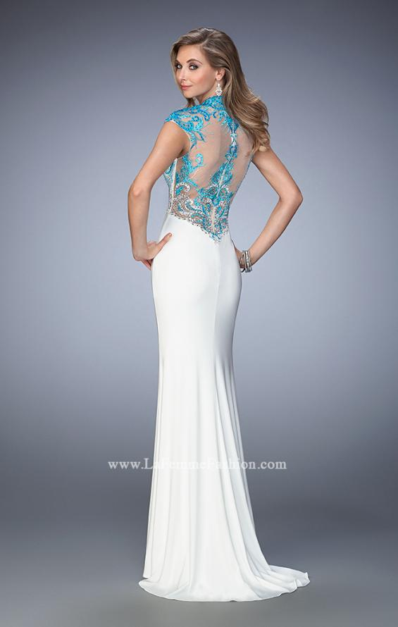 Picture of: Long Jersey Gown with mock Neck and Embroidery in White, Style: 22657, Back Picture