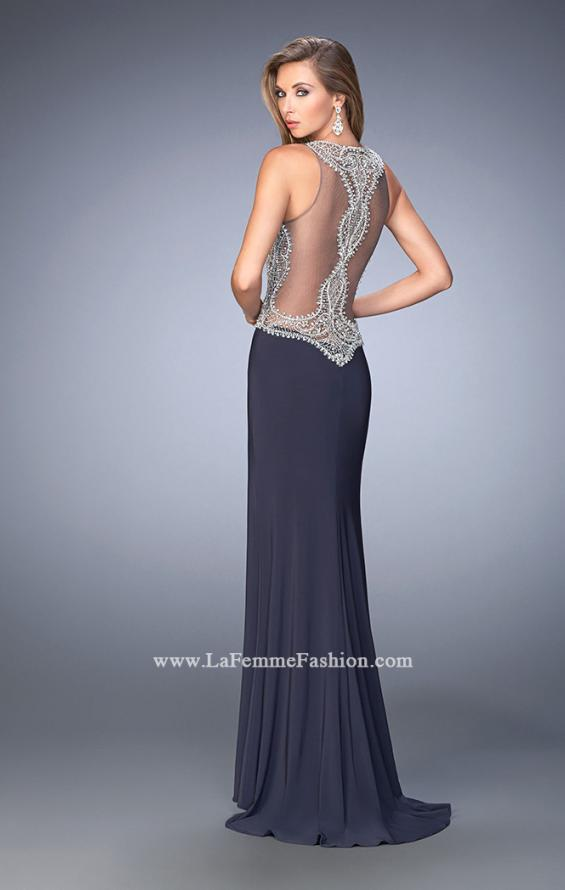 Picture of: Long Beaded Prom Dress with Side Slit and Train in Silver, Style: 22658, Back Picture