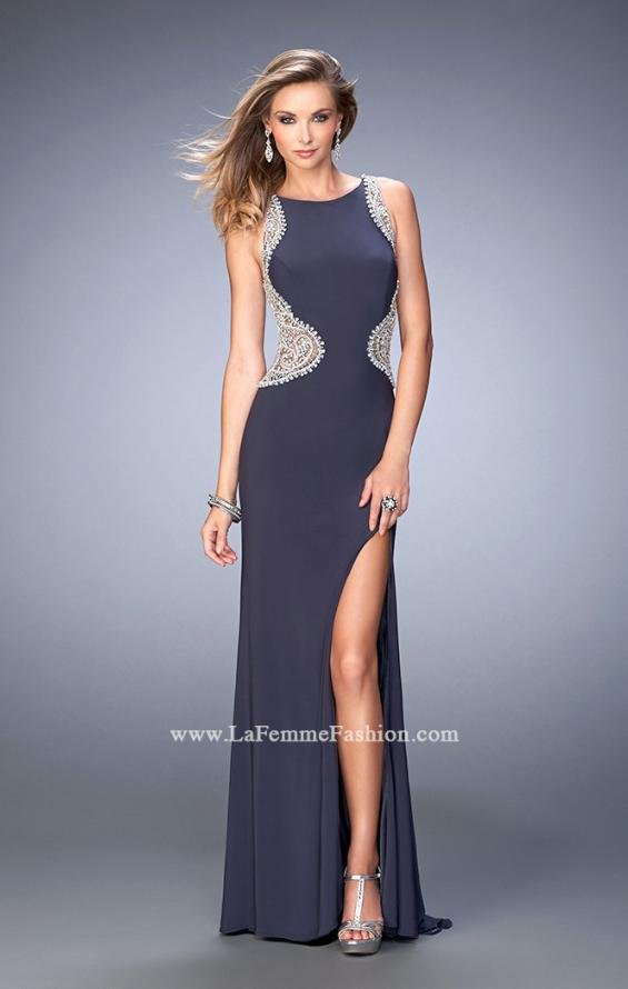 Picture of: Long Beaded Prom Dress with Side Slit and Train in Silver, Style: 22658, Detail Picture 1