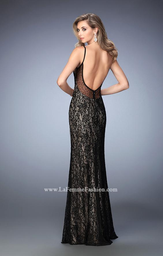 Picture of: Lace Prom Gown with V Neckline and Scoop Back in Black, Style: 22660, Back Picture