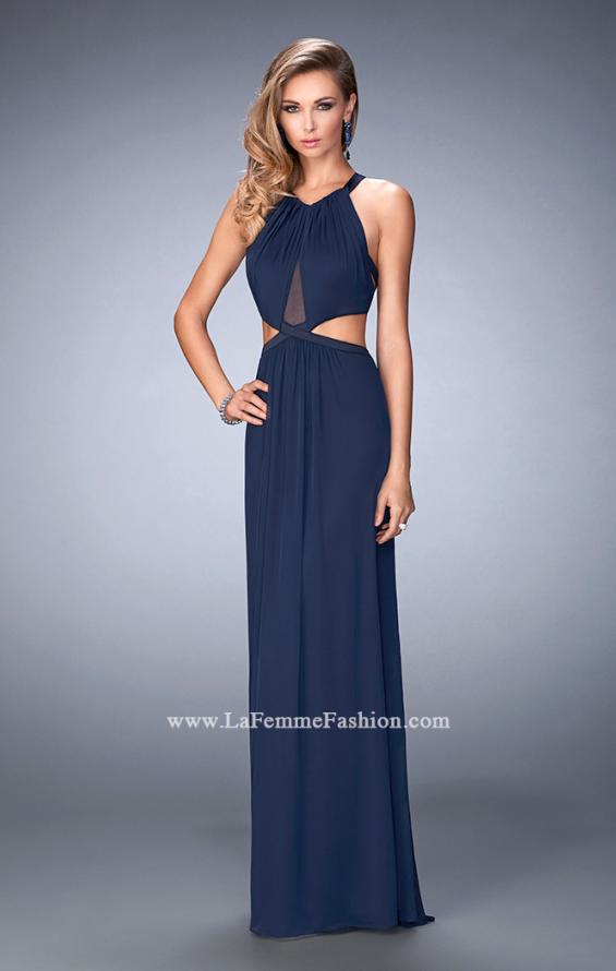 Picture of: Net Prom Dress with Open Back and Side Cut Outs in Blue, Style: 22664, Main Picture