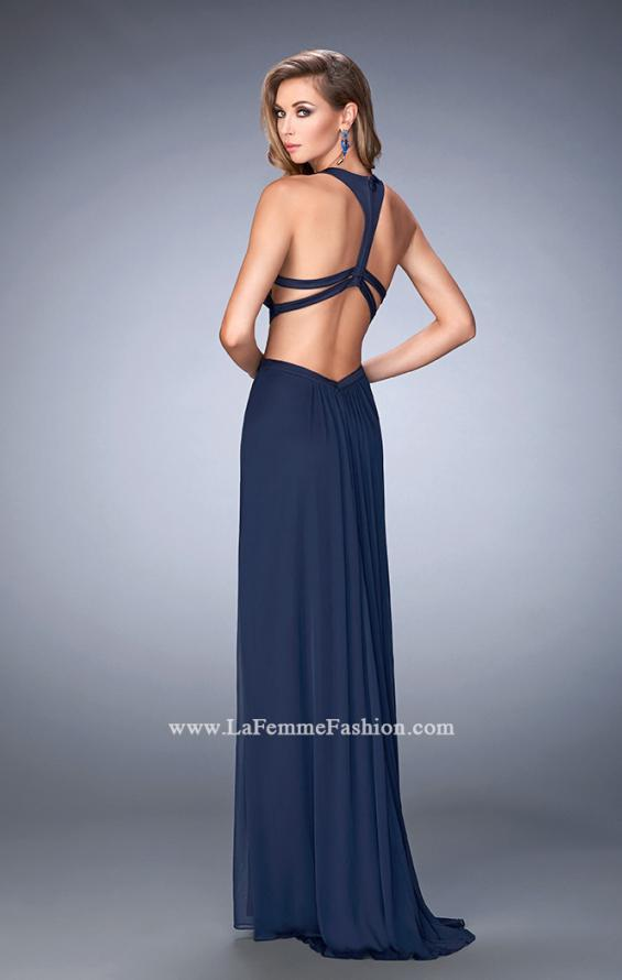 Picture of: Net Prom Dress with Open Back and Side Cut Outs in Blue, Style: 22664, Back Picture