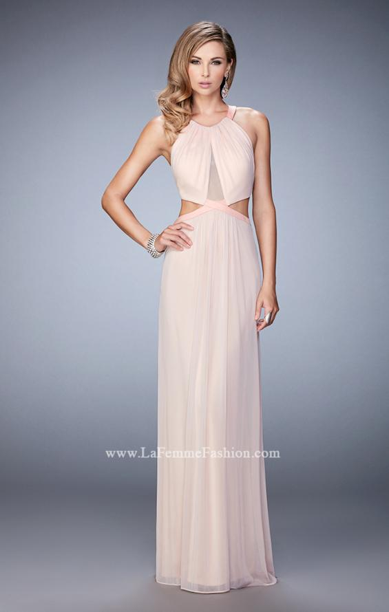 Picture of: Net Prom Dress with Open Back and Side Cut Outs in Pink, Style: 22664, Detail Picture 1