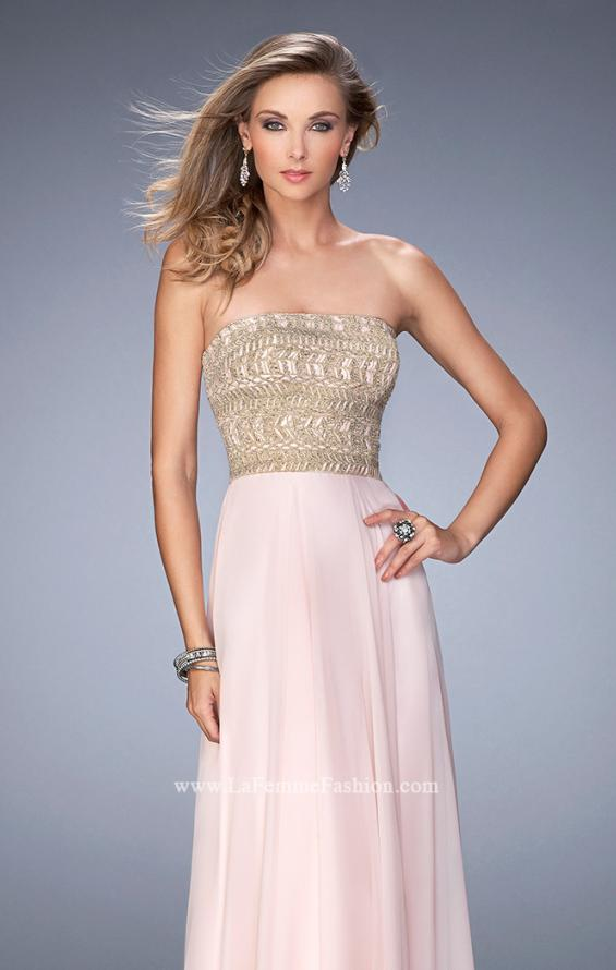 Picture of: Metallic Embroidered Chiffon Prom Dress, Style: 22674, Main Picture