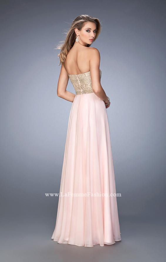 Picture of: Metallic Embroidered Chiffon Prom Dress, Style: 22674, Back Picture
