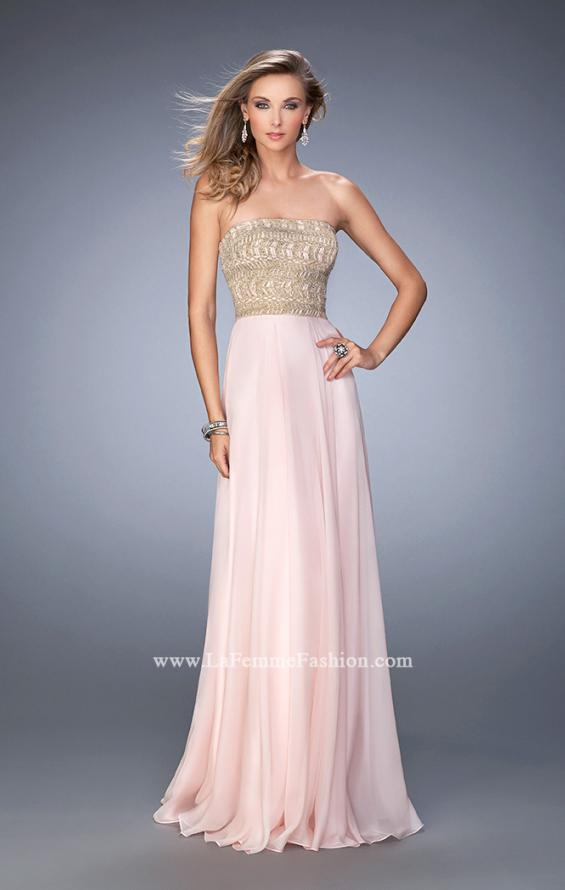 Picture of: Metallic Embroidered Chiffon Prom Dress, Style: 22674, Detail Picture 1