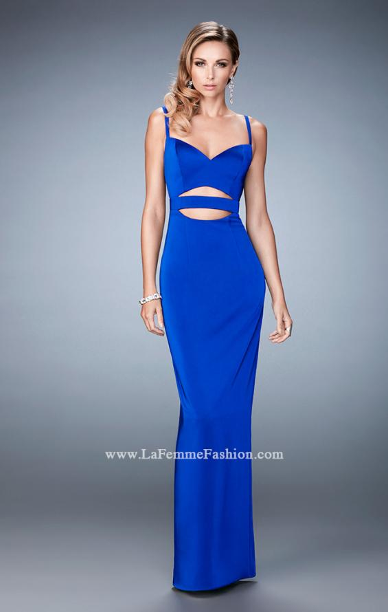 Picture of: Prom Gown with Cut Outs and Back Slit in Blue, Style: 22689, Detail Picture 2