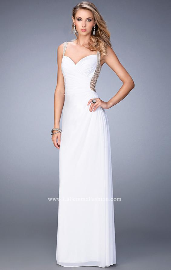 Picture of: Prom Gown with Sweetheart Neckline, Stones, and Pearls in White, Style: 22691, Main Picture