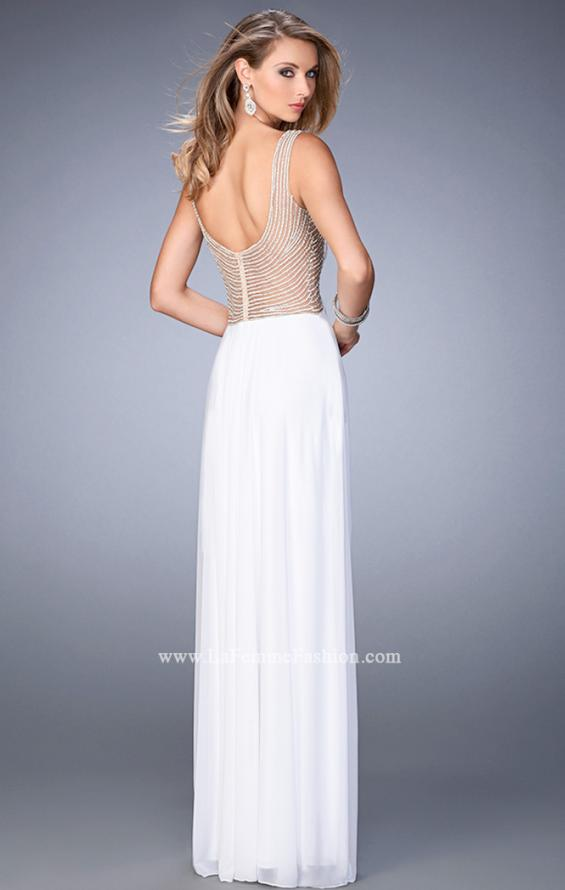 Picture of: Prom Gown with Sweetheart Neckline, Stones, and Pearls in White, Style: 22691, Back Picture