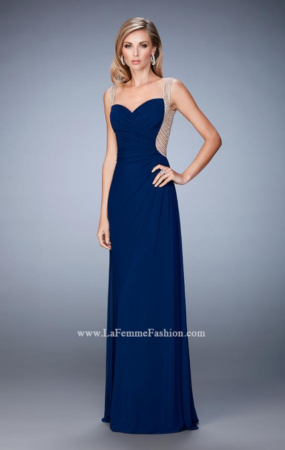 Picture of: Prom Gown with Sweetheart Neckline, Stones, and Pearls in Blue, Style: 22691, Detail Picture 1