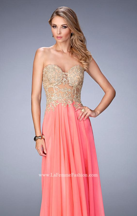 Picture of: Long Chiffon Prom Dress with Gold Lace Applique in Orange, Style: 22707, Main Picture