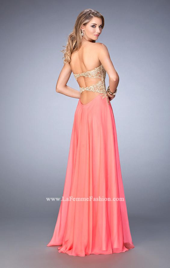 Picture of: Long Chiffon Prom Dress with Gold Lace Applique in Orange, Style: 22707, Back Picture