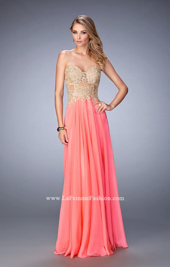 Picture of: Long Chiffon Prom Dress with Gold Lace Applique in Orange, Style: 22707, Detail Picture 1