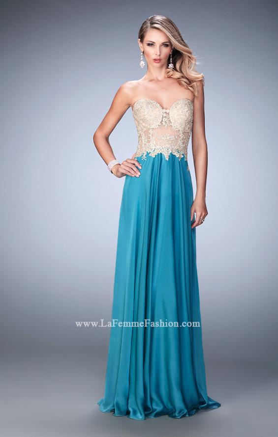Picture of: Long Chiffon Prom Dress with Gold Lace Applique in Blue, Style: 22707, Detail Picture 2