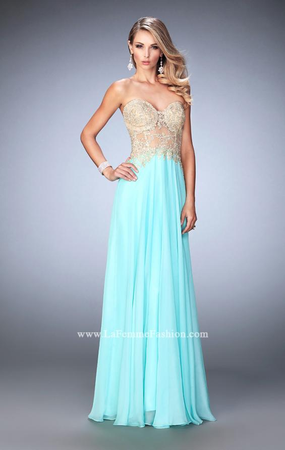 Picture of: Long Chiffon Prom Dress with Gold Lace Applique in Blue, Style: 22707, Detail Picture 3