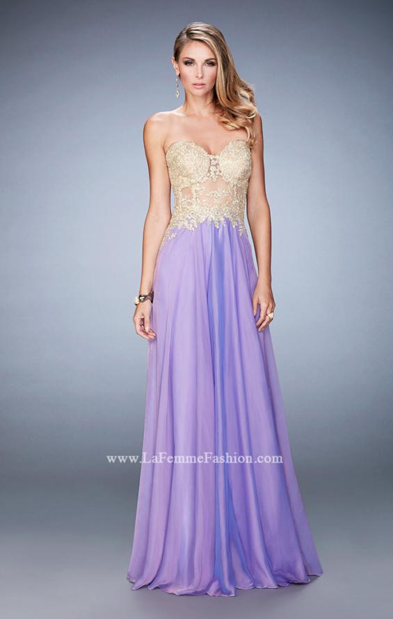 Picture of: Long Chiffon Prom Dress with Gold Lace Applique in Purple, Style: 22707, Detail Picture 4