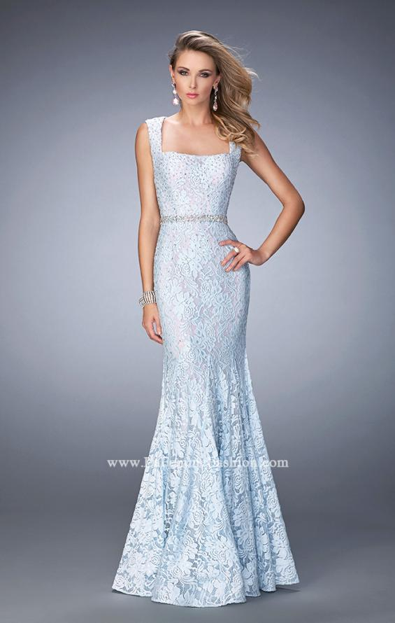 Picture of: Long Mermaid Prom Dress with Beaded Belt, Style: 22708, Main Picture