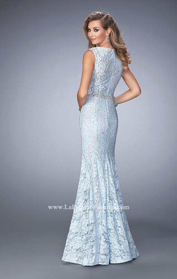 Picture of: Long Mermaid Prom Dress with Beaded Belt, Style: 22708, Back Picture