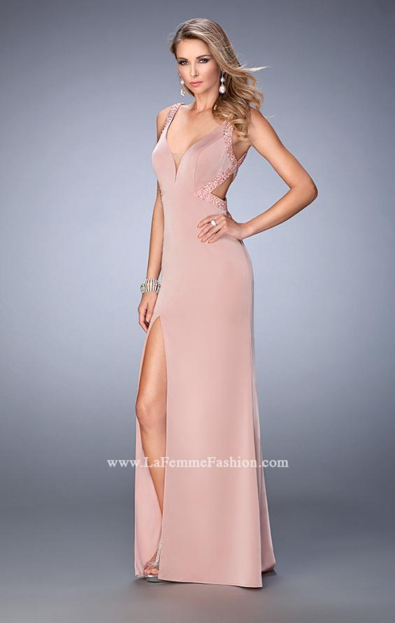 Picture of: Long Jersey Prom Gown with Side Leg Slit and Stones, Style: 22713, Main Picture
