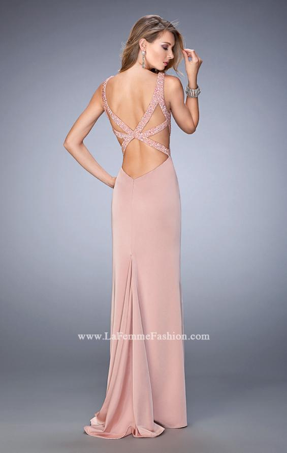 Picture of: Long Jersey Prom Gown with Side Leg Slit and Stones, Style: 22713, Back Picture