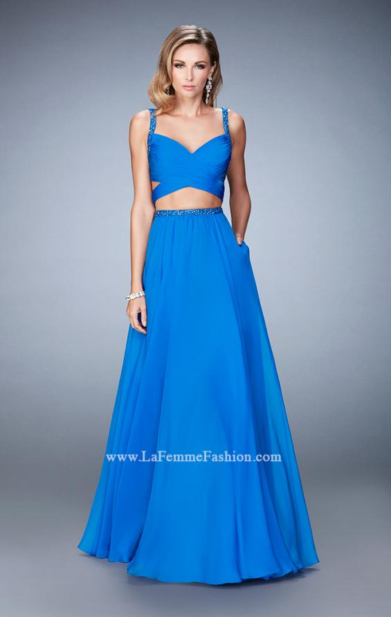 Picture of: Two Piece Attached Chiffon Prom Dress with Cut Outs in Blue, Style: 22718, Detail Picture 1