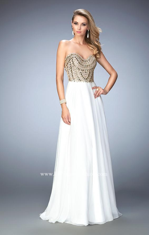 Picture of: Embellished Chiffon Prom Dress with Scoop Neck in White, Style: 22722, Main Picture