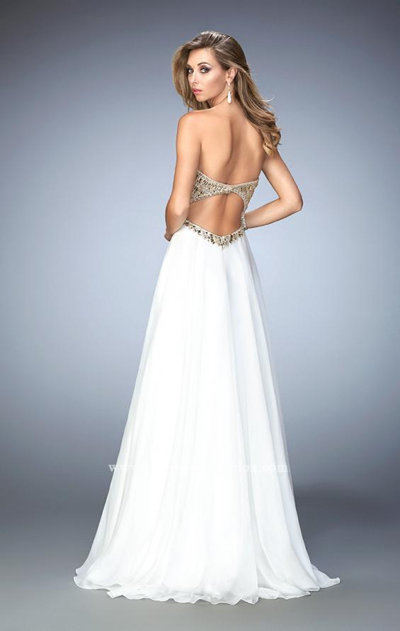 Picture of: Embellished Chiffon Prom Dress with Scoop Neck in White, Style: 22722, Back Picture