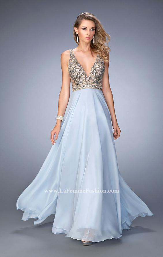 Picture of: Long Embellished Evening Gown with V Neckline in Blue, Style: 22725, Main Picture