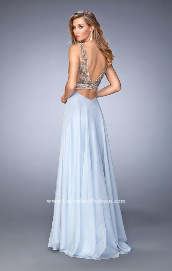 Picture of: Long Embellished Evening Gown with V Neckline in Blue, Style: 22725, Back Picture