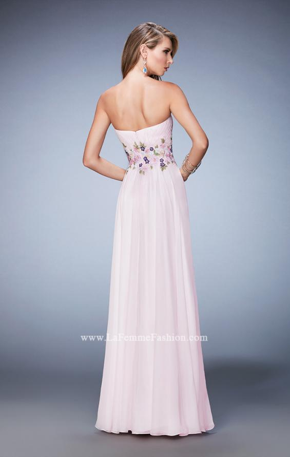 Picture of: Chiffon Gown with Gathered Bust and Lace Belt in Pink, Style: 22731, Back Picture