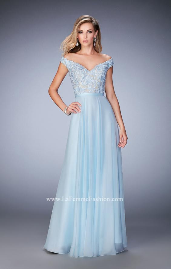 Picture of: Long Off the Shoulder Gown with 3-D Floral Lace in Blue, Style: 22737, Main Picture