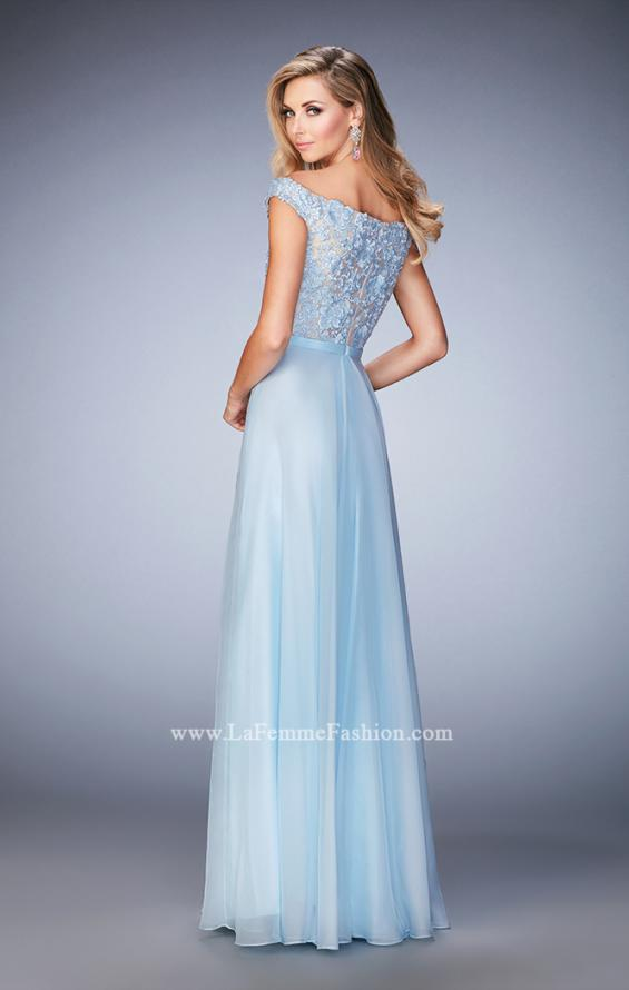 Picture of: Long Off the Shoulder Gown with 3-D Floral Lace in Blue, Style: 22737, Back Picture