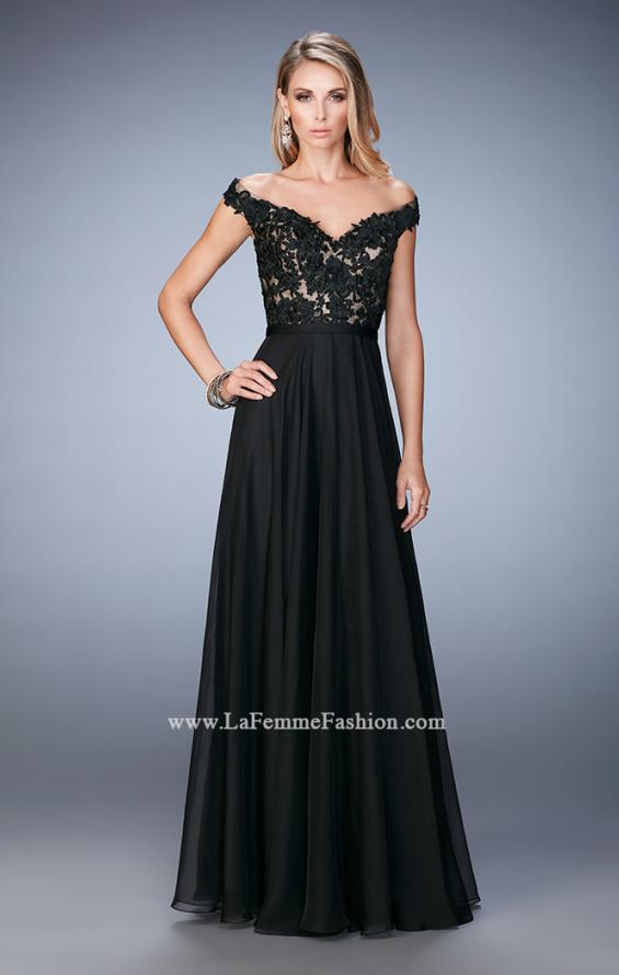 Picture of: Long Off the Shoulder Gown with 3-D Floral Lace in Black, Style: 22737, Detail Picture 1