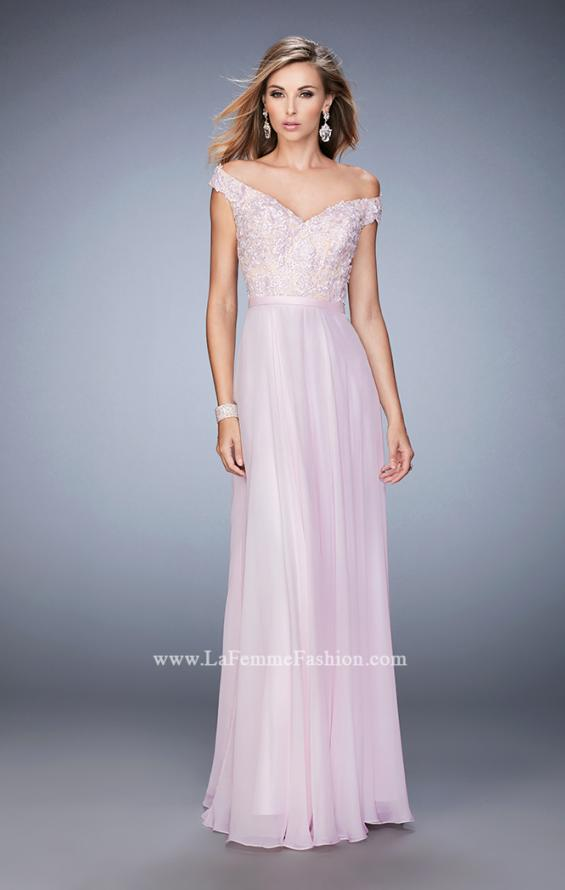 Picture of: Long Off the Shoulder Gown with 3-D Floral Lace in Pink, Style: 22737, Detail Picture 2