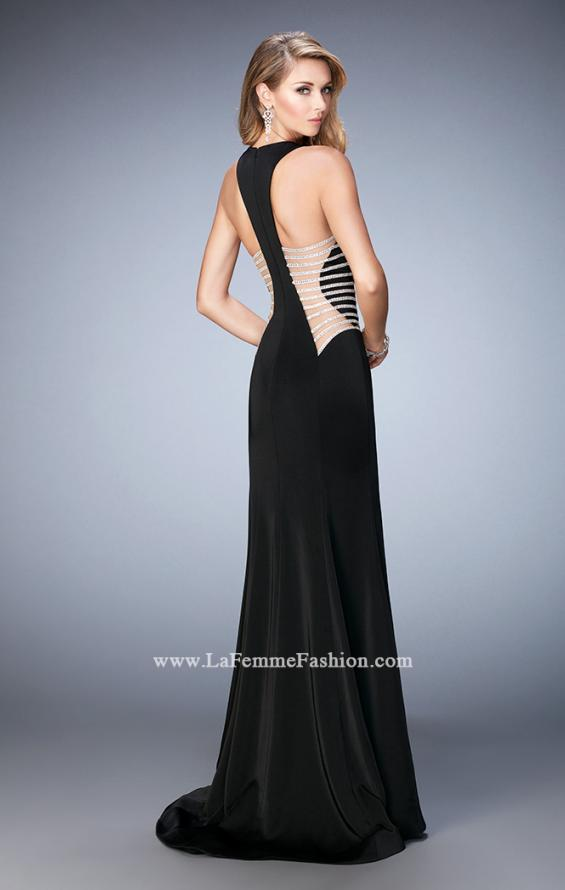 Picture of: Long Mermaid Prom Gown with Edgy Side Cut Outs in Black, Style: 22742, Back Picture