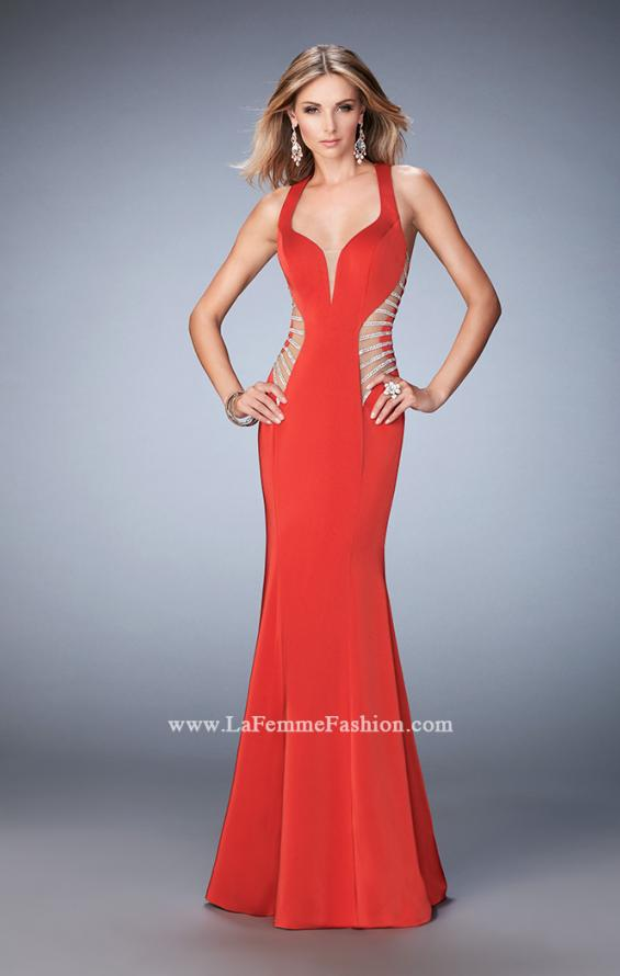 Picture of: Long Mermaid Prom Gown with Edgy Side Cut Outs in Red, Style: 22742, Detail Picture 1