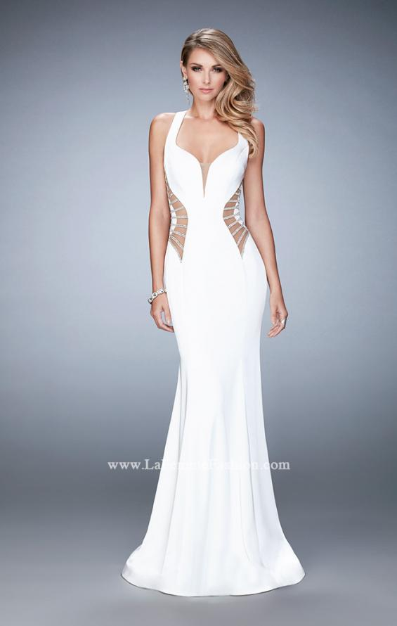 Picture of: Long Mermaid Prom Gown with Edgy Side Cut Outs in White, Style: 22742, Detail Picture 2