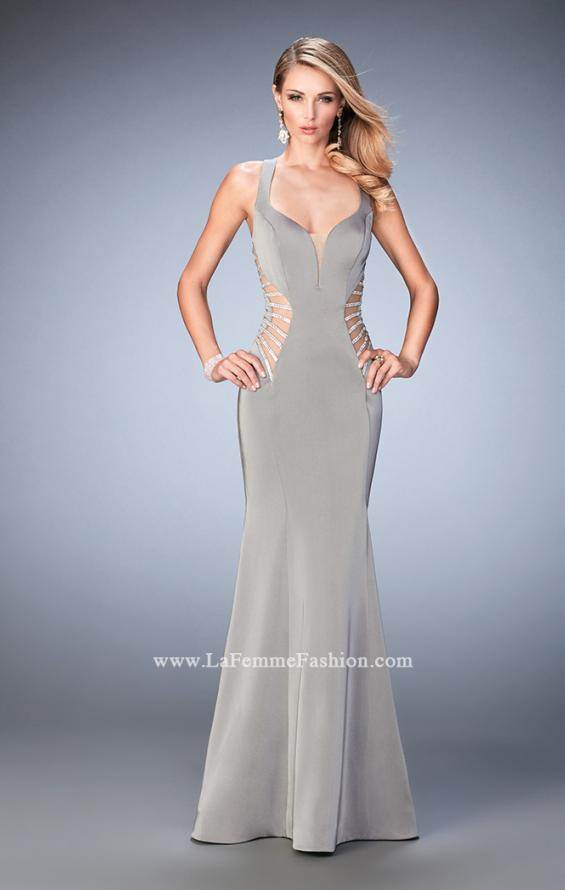 Picture of: Long Mermaid Prom Gown with Edgy Side Cut Outs in Silver, Style: 22742, Detail Picture 4
