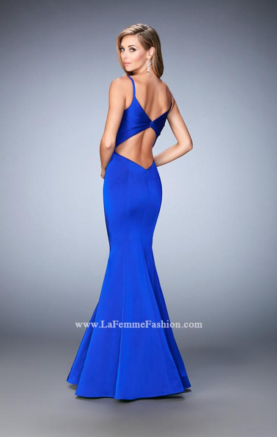 Picture of: Long Mermaid Dress with Pleated Bodice and Cut Outs in Blue, Style: 22747, Back Picture