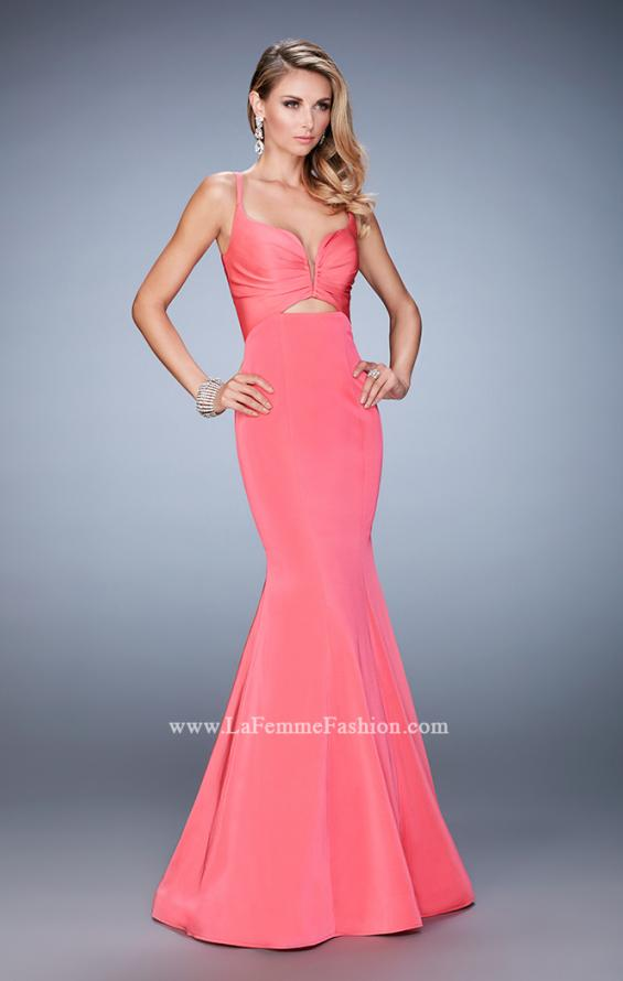 Picture of: Long Mermaid Dress with Pleated Bodice and Cut Outs in Pink, Style: 22747, Detail Picture 2