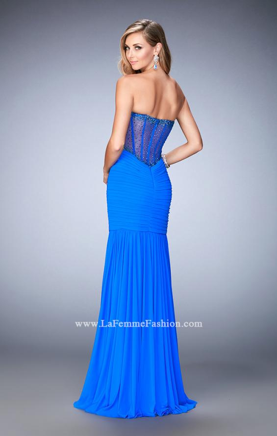 Picture of: Long Prom Gown with Exposed Boning and Stones in Blue, Style: 22753, Back Picture