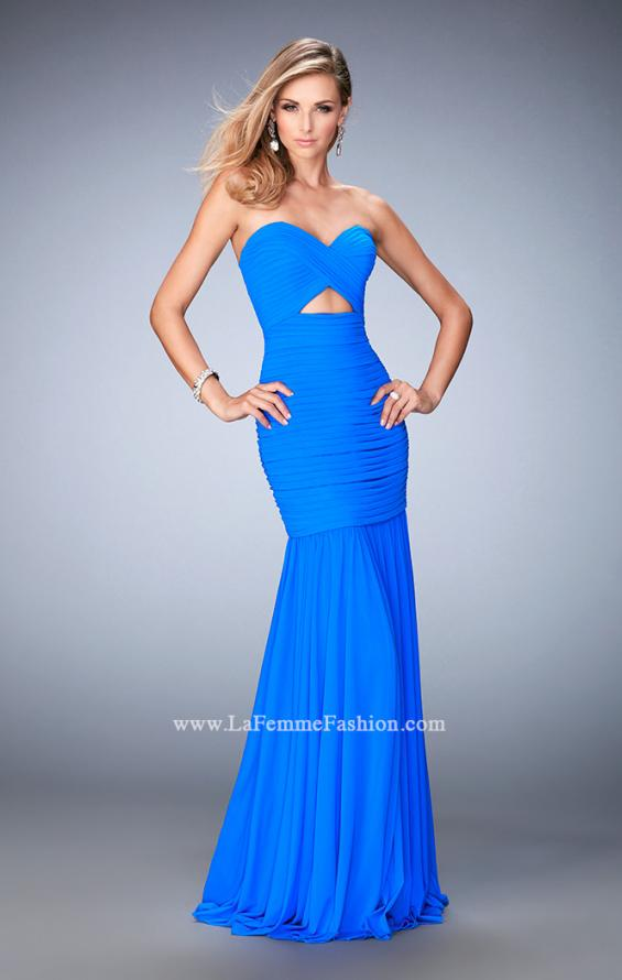 Picture of: Long Prom Gown with Exposed Boning and Stones in Blue, Style: 22753, Detail Picture 1
