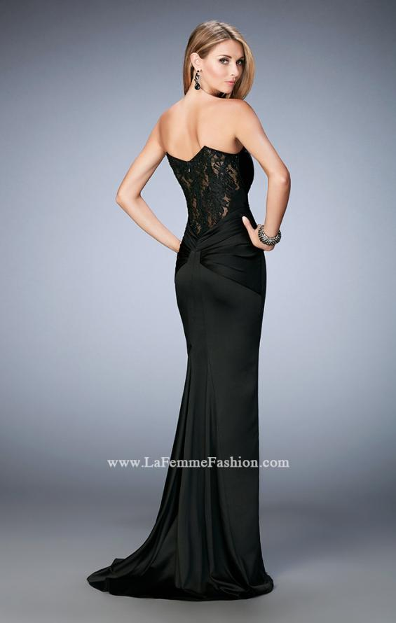 Picture of: Stretch Satin Gown with Gathered Bust and Train in Black, Style: 22755, Main Picture